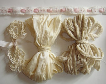 Hand Dyed Silk Ribbons and Trims...  Ivory