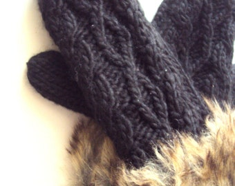 Knit Mittens Cable Knit Faux Fur Gloves Wool Mittens Fleece Lining