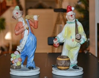 Set of Two Jasco Hobo Bisque Clowns
