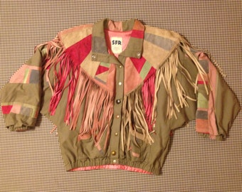 1980's, fabric, and patchwork suede and fringe jacket, in grey, with pinks, blues, and aqua, Women's size Smal