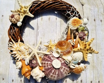 Coastal Beach Decor Seashell Wreath Starfish Wall or Door Wreath Wedding and Photo Shoot Prop Supplies Accessory