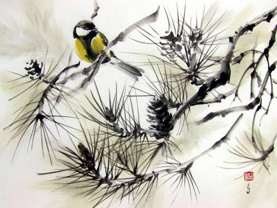 Japanese ink painting ink art asian art sumi e suibokuga for Japanese watercolor paintings