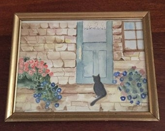 Black Cat Painting .., Free Shipping