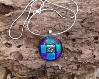 Blue, pink, purple Dichroic Fused Glass Pendant
