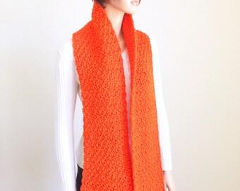 Orange Scarf/ Handmade Orange Scarf/ Crochet Winter Scarf/Crochet Spring Scarf/Spring Fashion Scarf/ Women and Mens crochet scarf
