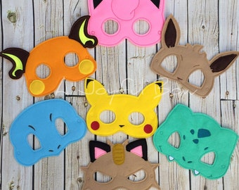 Poke inspired dress up and party favor masks. pika birthday, evee, meowth, pokemon birthday, pokemon party, pokemon birthday party