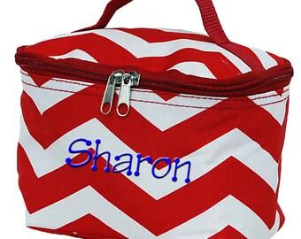 Personalized Cosmetic Bag | Bridesmaid Gift | Makeup Bag | Large Makeup Bag | Cosmetic Travel Bag | Red Chevron Makeup Organizer