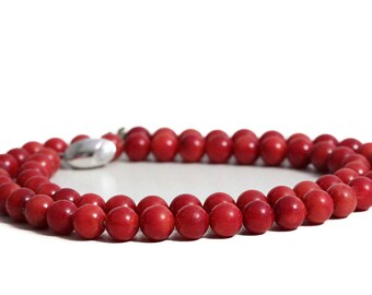 Necklace Coral round Beads Jewelry