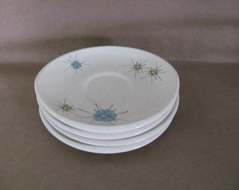 Vintage Starburst Saucers, Plates, 1950's Franciscan Starburst Saucers, Small Plates, Atomic Starburst Plates, 1950's, Mid Century Decor
