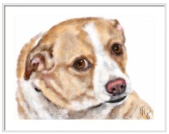 Custom Dog Pet Portrait, pet portrait, custom portrait, dog art, dog lover, pet memorial, chihuahua, dog memorial, artwork, dog, art print