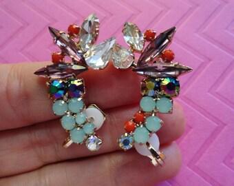 Crystal glass bead ear crawler cuffs