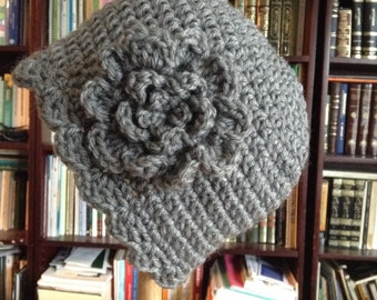 SALE Chemo Cap Crochet Gray Chemo Hat Cap Beanie, Womens Hat, with Flower, Ready to Ship