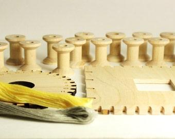 Kumihimo braiding kit, 2 wood Kumihimo discs, bobbin weights, thread and PDF Kumihimo instructions, wooden Kumihimo disc kit