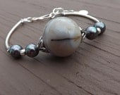 Grey Agate and Akoya Pearl Bracelet in Sterling Silver