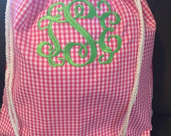 Hot pink gingham check drawstring backpack