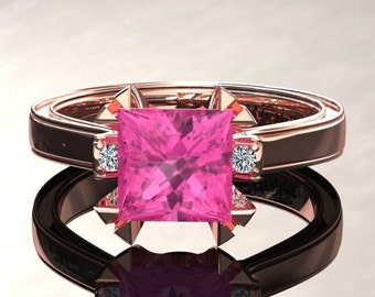 Pink Sapphire Engagement Ring Princess Cut Pink Sapphire Ring 14k or 18k Rose Gold Matching Wedding Band Available W27PKR