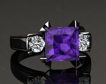 Amethyst Engagement Ring Princess Cut Amethyst Ring 14k or 18k Black Gold Matching Wedding Band Available SW16PUBK