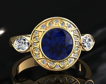 Blue Sapphire Halo Engagement Ring Blue Sapphire Ring 14k or 18k Yellow Gold W19BUY