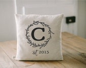 Personalized Pillow Cover, Initial and Year, 16 x 16, Personalized, couple, wedding, engagement gift, wedding shower, throw, cushion