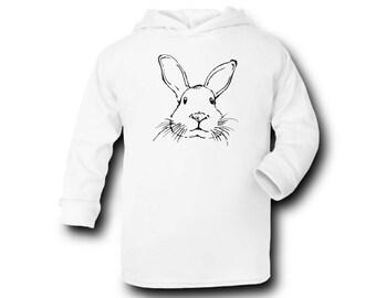 Rabbit Face-Baby Hoodie -Baby Clothes,Kids Hoodie-100% Cotton - Silkscreen