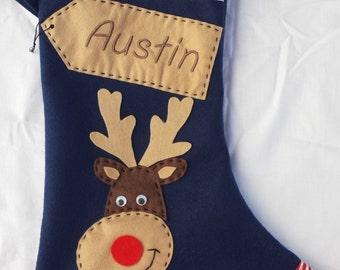 Personalized Christmas Stocking  - Handmade - Navy Reindeer /Rudolf