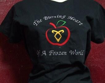 "Mortal Instruments Shirt, Woman's Adult Shirt, ""Burning Heart"" Jace Wayland/ Clary Fray inspired shirt, Clace"