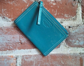 Leather Wallet Coach Coin Purse Key Chain Teal Wallet