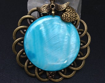 Sky Blue Shell  Pendant  Large Round Bronze Pendant ,Bird and Heart Pendant