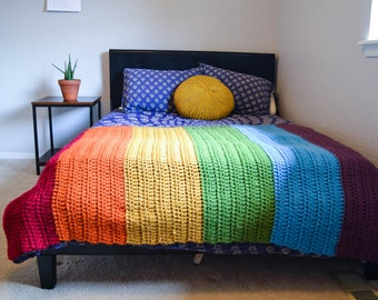 Crochet rainbow afghan cozy warm wool blend blanket throw napping blanket READY TO SHIP Russia-inspired rainbow blanket