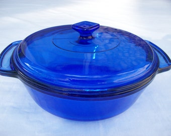 Anchor Hocking Cobalt 2 Qt Covered Casserole Baking Dish