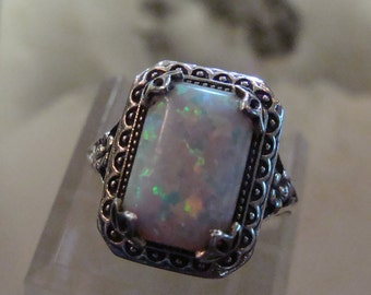 Charming Sterling  & Opal  Ring Size 6.75