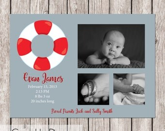 Simple Nautical Announcement  - Customizable, up to 3 Photo, Neutral/Boy - 5 x 7 - Printable