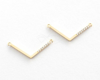 3382011 / V Connector / 16k Gold Plated Brass with CZ Pendant 27mm x 10.5mm / 0.6g / 2pcs