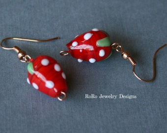 Strawberry Lampwork Earrings