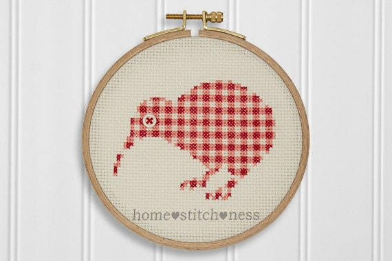 Pdf gingham kiwi icon modern cross stitch pattern