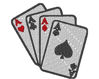 Aces Playing Cards Games Machine Embroidery Pattern