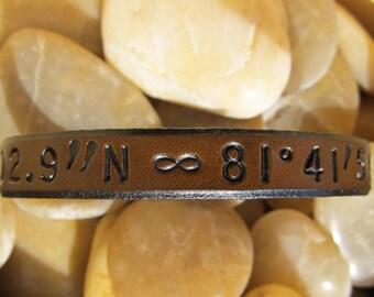 Hand Tooled Leather Wrap Bracelet - Infinity Symbol - Customize - Latitude Longitude Coordinates - Name & Date - Brown - Men's Women's Kids