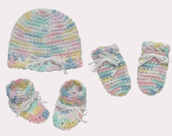 Newborn OR Preemie All-Cotton Set: Hat, Mittens, and Booties