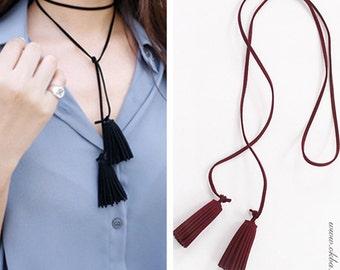 Garnet tassel necklace