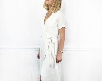 WRAP SILK DRESS | Stunning and Relaxed Styling Winter White Silk Wrap Dress for the Holidays | Self Fabric Belt with Tie Options