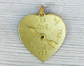 Gold Brass Heart Pendant. Love meter. Arrow really SPINS! Love Me Yes or No? DIY jewelry parts *Bulk Options* M111