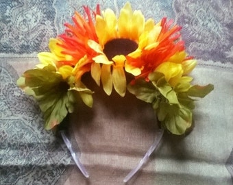 Sunflower with Orange Flower Headband
