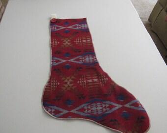 Christmas Stocking Pendleton Blanket Vintage Button