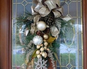 Christmas Door Swag- Christmas Wreath - Wreaths - Holiday Door Decorations - Pine cones -Champagne door swag