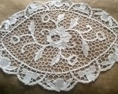 Art Lace Doily French Antique 1930's Off White Cotton Handmade Lace Table Center Roses Floral Doily