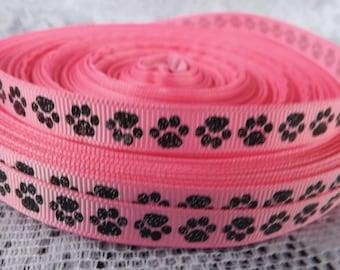 Black Paw print ribbon pink paw ribbon 3/8 glitter paw ribbon pink glitter paw print ribbon