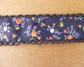 Black Cotton Trim with Black Crochet Scallop Sides