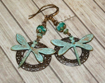 Artisan jewelry, Verdigris earrings, Vintaj jewelry, Patina jewelry,Teton Summer Earrings, Green earrings