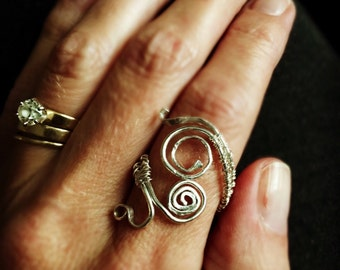 Sterling Silver wire wrapped ring, wire wrapping, Sterling Silver