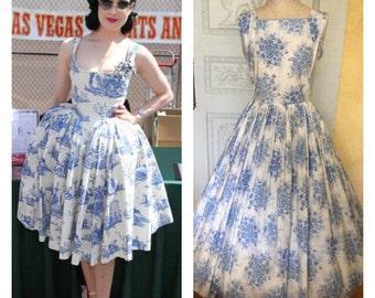 1950s Vintage Cotton Floral Dress Horrocks Blue Floral